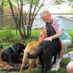 John hugging dogs